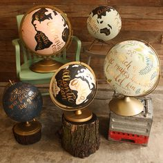.Hand painted globes. I think I will do this but only paint a certain place on it , ex: Eiffel Tower for trip to paris. or Horses for Chingoteague Island <3