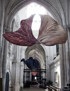 Peter Gentenaar's ethereal paper sculptures inside the Abbey at Saint-Riquier, France