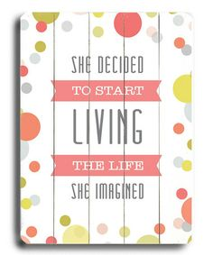 'She Decided To Start' Wood Wall Art by Amanda Catherine Designs