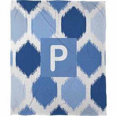 Thumbprintz Batik Monogram Fleece Throw, Blue