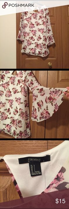 Forever 21 Bell Sleeve Floral Mini Dress This is a NWT mini dress from Forever 21!!  White with burgundy, pink, and green floral designs. Featured with flowery bell sleeves perfect for that summer music festival 😊 Forever 21 Dresses Mini