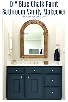 Here are all the details behind my DIY Napoleonic Blue Bathroom Vanity Makeover. Pottery Barn wood mirror over blue bathroom vanity with white quartz countertop. Painting Moving Decor and Organization Blue Bathroom Vanity, Bathroom Vanity Makeover, Bathroom Layout, Bathroom Cabinets, Bathroom Interior, Paint Bathroom, Bathroom Ideas, Bathroom Organization, Bathroom Makeovers