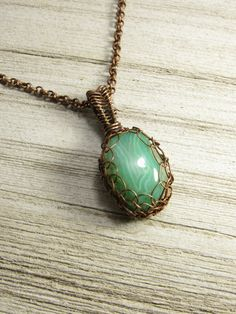 Soft Green Polished Agate Focal Captured in by AllowingArtDesigns