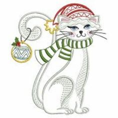 2 Christmas Kitten kitty Cat Holiday embroidered  fabric quilt squares