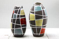 Pair of Schlossberg Keramik 'Kuba' vases, West Germany circa 1958
