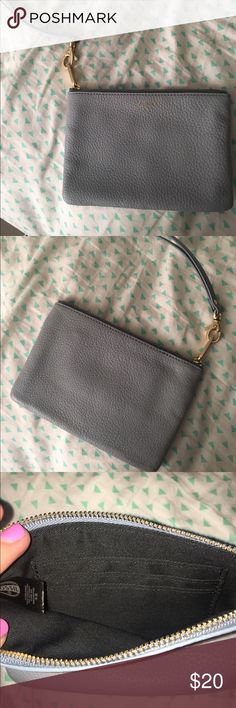 Fossil wristlet Perfect Cinderella blue wristlet, not too big and not too small. Can hold a pop tart. Fossil Bags Clutches & Wristlets