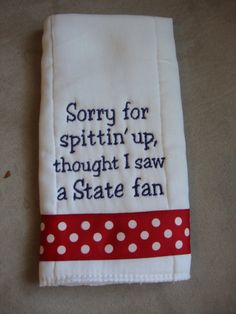 Ole Miss Burp Cloth : NEED THIS!! ESP when they stay with husbands family :)
