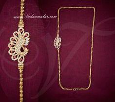 Peacock Design Side pendant Mugappu American Diamond and Ruby Stones  www.vadaamalar.co...