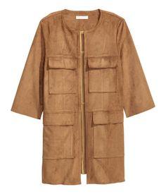 Mantel aus Velourslederimitat | Dunkles Camel | Damen | H&M DE