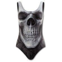 Solemn Skull, gothic fantasy metal schedel badpak met gevulde cups zwart