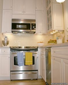 If you don't have a self-cleaning oven (which burns off residue at very high temperatures), try a paste of baking soda and water. Coat the oven surfaces with the paste (avoiding bare metal and heating elements), let stand overnight, and, while wearing gloves, use a plastic spatula to remove it.