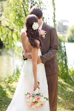 bride and groom, first look, pretty bridal hair, pink and blue rustic chic Southern wedding, Katelyn James Photography