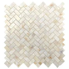 Daltile Premier Accents Pearl Herringbone 10 in. x 11 in. x 2 mm Stone Mosaic Wall Tile sq. / - The Home Depot Stone Mosaic Tile, Mosaic Wall Tiles, Marble Mosaic, Mosaic Glass, Mosaic Tile Fireplace, Mosaic Bathroom, Bathroom Stuff, Bathroom Layout, Bathroom Sets