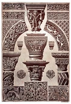 Byzantine and Romanesque Middle Ages architecture and sculpture Plate 34, Sculpture, capitals, Byzantine, Roman, Ornaments, 1898