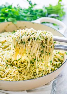 This Olive oil and Garlic Fettuccine known as Aglio e Olio in Italian is a traditional pasta dish originating in Naples known for its simplicity.