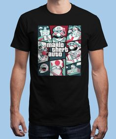 """Mario Theft Auto"" is today's £9/€11/$12 tee for 24 hours only on www.Qwertee.com Pin this for a chance to win a FREE TEE this weekend. Follow us on pinterest.com/qwertee for a second! Thanks:)"