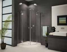 Terrific Minimalist Gray Bathrooms Design With Corner Shower Room Also Dark Grey Hardwood Vanity Added Ceiling Lamps Decors As Inspiring Modern Bathroom Pictures Decors Small Basement Bathroom, Small Bathroom With Shower, Glass Bathroom, Bathroom Ideas, Shower Ideas, Bathroom Designs, Bathroom Remodeling, Shower Designs, Modern Basement