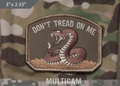 Don't Tread On Me Morale Patch - Multicam - Express your individuality with our collection of Morale Patches, Embroidered Patches, Velcro Morale Patches, Tactical Morale Patches, Military Morale Patches, and Humorous Morale Patches! Put them on all of your gear: Hats, Jacket, Fleece, Vests, and Backpacks! Get it at http://zuffel.com/collections/morale-patches/products/dont-tread-multicam