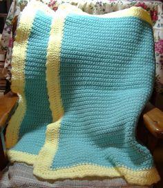 Turquoise & Yellow Crochet Lap Afghan 36 by MystieMeadowGifts, $25.00