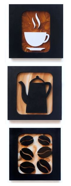 3 quadros decorativos para harmonizar as paredes da sua sala ou escritório, feitos à mão. Com desenho criativo de xícara de café, grão e bule esculpidos em relevo no mdf, pintura acrílica e esmalte, moldura preta. Acompanha furo para pendurar.  Medidas cada quadro: L 20 x A 20 x C 1,5 cm - Peso 0...