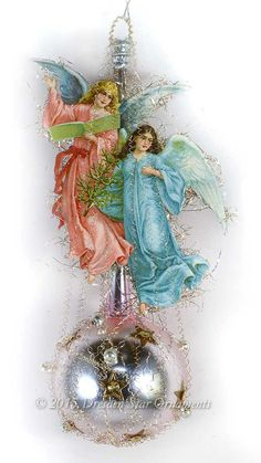 Blue and Pink Angel ornaement