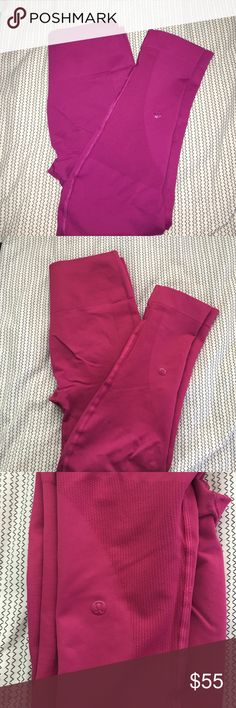 LULULEMON ZONE IN CROP Pink color, not sure exact name. Some wear in seat, otherwise no tears, stains or pilling. Posted with and without flash to show wear and color. lululemon athletica Pants