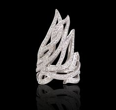 Fire of London flame ring in pavé white Fire of London Collections Garrard