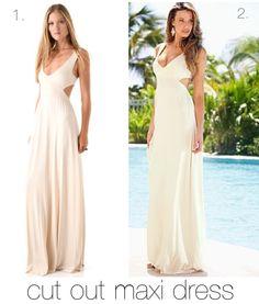 1. Rachel Pally Long cut out maxi dress   $238    2. Venus Open Back Maxi Dress  $36  www.venus.com
