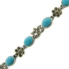 Sterling Silver Marcasite Synthetic Oval Turquoise Flower Bracelet LEAH HANNA. $29.99