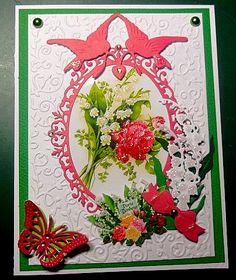 Carte fait pour le 1er Mai, découpe cadre M.D ainsi que die oiseau et muguet die. Bouquet muguet avec paillettes et noeud M.D ainsi que le papillon.