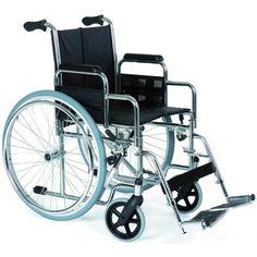 Silla Autopropulsable Plegable Rueda de 600 mm. Fabricada en acero y cromada, es una silla económica y de gran resistencia ideal para instituciones. Disponible en varios anchos de asientos.