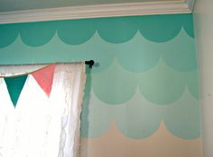 ombré painted fish scale accent wall... Maybe I can paint my closet doors something like tthis.