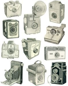 vintage cameras graphite drawings