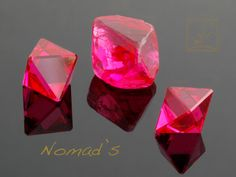 "Red Spinels from Burma, Rough Crystal is 3.83 ct, and Cut Stones are 4.21 ct together, These are called ""Angel Cut"" in Burma, which is just polishing natural faces of the crystal, without putting on any new facets."