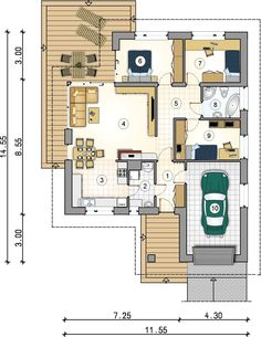 DOM.PL™ - Projekt domu Mój Dom Anatol II CE - DOM BM1-45 - gotowy koszt budowy Amber, House Plans, Floor Plans, How To Plan, January, House Decorations, Home And Garden, Projects, House Floor Plans