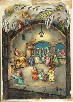 Vintage WEST GERMANY ADVENT CALENDAR ANGELS CLEANING INSIDE A CHURCH or MANGER