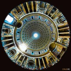 A gorgeous shot looking up in the Pantheon, Rome, Italy.