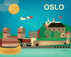 Oslo Norway Skyline  Horizontal Wall Art Poster by loosepetals, $27.00