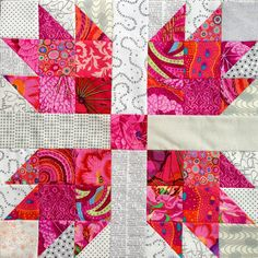 Wendy's quilts and more: Scrappy Bear Paw Quilt with Kaffe Fassett fabrics