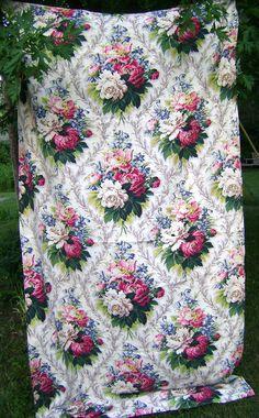 Vintage 1940s Barkcloth Bark Cloth Rose Roses by vintagebella
