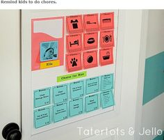 Stick up your kids' duties for the week, and when they've finished the task they remove the note to mark that it's done.  See our blog for more cool uses for sticky notes. http://sheriscleaning.wordpress.com/