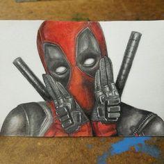 Deadpool  Graphite & Watercolor Pencil