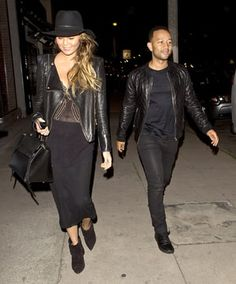 Chrissy Teigen and John Legend were spotted working complementary black leather jackets on the streets of Los Angeles on March 18; see the photo