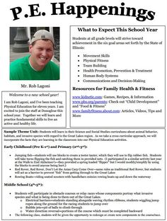 "A parent newsletter on gym classes incorporating invasive species lessons. ""My goal is to try and incorporate information my students may be learning in their classrooms about invasive species, animal adaptations and habitats, as well as animal behavior into activities in Physical Education. "" --Rob, a Physical Education teacher about bringing Great Lakes content into his gym classes"