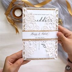 modern ivory laser cut wedding invitations with rose gold glittery belly band invites videos Laser Cut Wedding Invitations with belly band Diy Birthday Invitations, Laser Cut Wedding Invitations, Printable Wedding Invitations, Wedding Stationery, Invites, Business Invitation, Laser Cut Invitation, Invitation Design, Wedding Videos