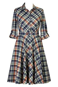 Madras Check Cotton Shirtdresses, Teacher Style Retro Dresses Shop women's designer fashion - A-line dress - Shop for A-line dresses Plus Size Dresses, Dresses For Work, Look Plus Size, Full Circle Skirts, Dresser, Retro Dress, Custom Clothes, Plus Size Fashion, Autumn Fashion