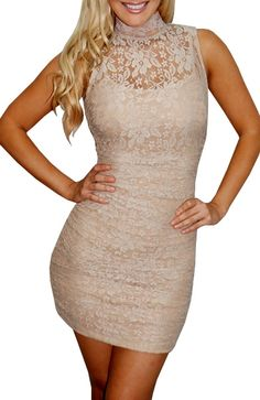 Homecoming (Beige)-Great Glam is the web's top online shop for trendy clubbin styles, fashionable party dress and bar wear, super hot clubbing clothing, stylish going out shirt, partying clothes, super cute and sexy club fashions, halter and tube tops, be