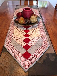 Red White and Silver Holiday French Braid Quilted Table