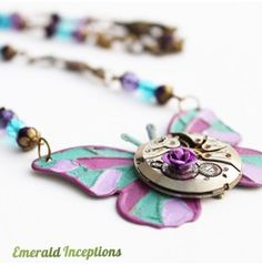 Steampunk Butterfly Necklace ~ Purple Lilac Turquoise Wing