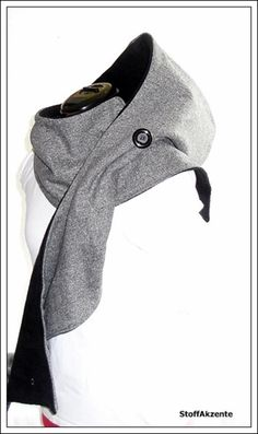 Kapuzenschals - Kapuzenschal (lang) grau-meliert/schwarz - ein Designerstück von StoffAkzente bei DaWanda